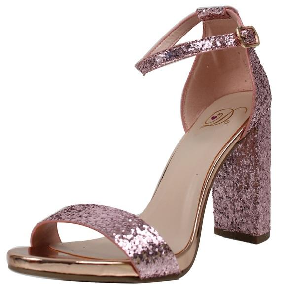 e3d32f5b80d70 Pink glitter open toe ankle strap block heel